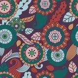 Vector naadloos hand-drawn patroon met bloemen en bladeren Royalty-vrije Stock Fotografie