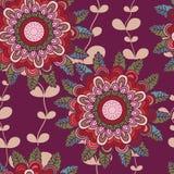 Vector naadloos hand-drawn patroon met bloemen en bladeren Royalty-vrije Stock Foto