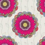 Vector naadloos hand-drawn patroon met bloemen en bladeren Stock Fotografie