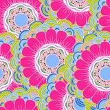 Vector naadloos hand-drawn patroon met bloemen en bladeren Stock Afbeeldingen