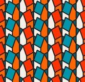 Vector Naadloos Isometrisch Huizenpatroon in Teal White en Sinaasappel met Zwarte Overzichten Royalty-vrije Stock Afbeelding
