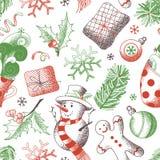 Vector naadloos Kerstmispatroon stock illustratie