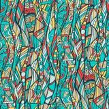 Vector naadloos kleurrijk patroon, getrokken hand, krabbels Royalty-vrije Stock Afbeelding