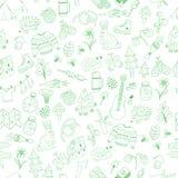 Vector naadloos krabbel het kamperen patroon Royalty-vrije Stock Afbeelding