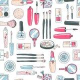 Vector naadloos krabbelpatroon met kosmetische hulpmiddelen Het gebruik als patroon vult, achtergrond Royalty-vrije Stock Foto's