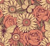 Naadloos met bloemen en vlinders Royalty-vrije Stock Afbeeldingen