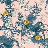 Vector naadloos mooi artistiek helder tropisch patroon met Stock Foto's