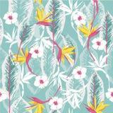 Vector naadloos mooi artistiek helder tropisch patroon met Stock Afbeeldingen