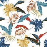 In vector naadloos mooi artistiek helder tropisch patroon met exotische bos Kleurrijke originele modieuze bloemenachtergrond royalty-vrije illustratie