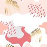 Vector naadloos mooi artistiek kleurrijk silhouet tropisch patroon met exotische gouden palmbladen vector illustratie