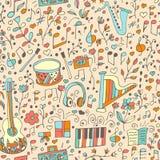 Vector naadloos muzikaal patroon, getrokken hand Royalty-vrije Stock Fotografie