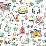 Vector naadloos muzikaal patroon, getrokken hand Stock Afbeelding