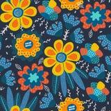Vector naadloos patroon Abstracte hand getrokken bloemen met verschillende texturen Bloemen samenstelling Stijl uit de vrije hand vector illustratie