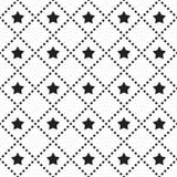 Vector naadloos patroon Betegelde vierkante achtergrond met zwart-wit sterpictogram en gestippelde lijnen vector illustratie
