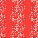 Vector naadloos patroon bloemen rode achtergrond Verticale takken met gevoelig leuk verlof Stock Afbeelding