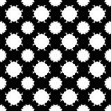 Vector naadloos patroon, eenvoudige zwart-wit bloementextuur Stock Foto's