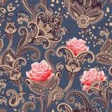Vector naadloos patroon Indische bloemenachtergrond paisley De stijl van de manier Ontwerp voor stof royalty-vrije illustratie