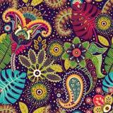 Vector naadloos patroon Indische bloemenachtergrond paisley De stijl van de manier Ontwerp voor stof stock illustratie