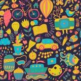 Vector naadloos patroon, kinderachtige krabbels Patroon, reeks van diffe Royalty-vrije Stock Fotografie