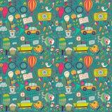 Vector naadloos patroon, kinderachtige krabbels Patroon, reeks van diffe Royalty-vrije Stock Afbeeldingen