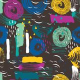 Vector naadloos patroon met abstract vormen en gekrabbel Creatieve texturen Vlekken van verf, inkt Artistieke Achtergrond stock illustratie