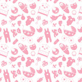 Vector naadloos patroon met babyelementen Pasgeboren kleren en Stock Foto