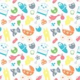 Vector naadloos patroon met babyelementen Pasgeboren kleren en vector illustratie