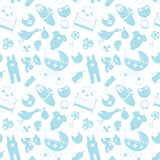 Vector naadloos patroon met babyelementen Pasgeboren kleren en Stock Afbeeldingen
