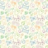 Vector naadloos patroon met babyelementen Pasgeboren kleren en stock illustratie
