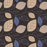 Vector naadloos patroon met Beige en blauwe silhouetten van bladeren Patroon van bladeren Skandinavische stijl op een donker brui vector illustratie