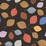 Vector naadloos patroon met Beige en blauwe silhouetten van bladeren Patroon van bladeren Skandinavische stijl op een donkere bru stock illustratie