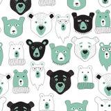 Vector naadloos patroon met beren Stock Afbeeldingen