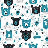 Vector naadloos patroon met beren stock illustratie