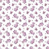 Vector naadloos patroon met binnen nijlpaard Stock Foto