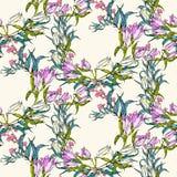 Vector naadloos patroon met bloemen en bladeren stock illustratie