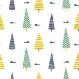 Vector naadloos patroon met bomen Skandinavische druk Royalty-vrije Stock Afbeeldingen