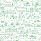 Vector naadloos patroon met bosflora en fauna Royalty-vrije Stock Afbeeldingen