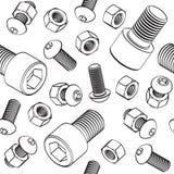 Vector naadloos patroon met bouten, noten en schroef met cilinderkop op witte achtergrond stock illustratie