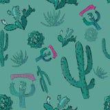 Vector naadloos patroon met cactusesandberg royalty-vrije stock afbeelding