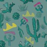 Vector naadloos patroon met cactusesandberg royalty-vrije stock foto's