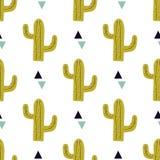 Vector naadloos patroon met cactussen en driehoeken Royalty-vrije Stock Afbeelding