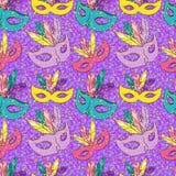 Vector naadloos patroon met Carnaval-masker royalty-vrije illustratie