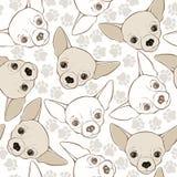 Vector naadloos patroon met chihuahua-hond en sporen stock illustratie
