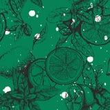 Vector naadloos patroon met citroen en munt Stock Afbeeldingen