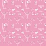 Vector naadloos patroon met cocktails Stock Foto's