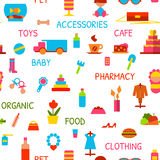 Vector naadloos patroon met consumptiegoederen Stock Foto's