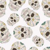 Vector naadloos patroon met Dag van de Dode schedels Royalty-vrije Stock Afbeeldingen