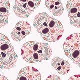 Vector naadloos patroon met Dag van de Dode schedels royalty-vrije illustratie