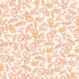 Vector naadloos patroon met dalingsbladeren op linnentextuur Achtergrond voor stof of boekdekking, productie Royalty-vrije Stock Afbeelding