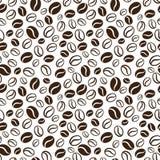 Vector naadloos patroon met de bonen van de handrawnkoffie Mede herhalen Stock Afbeelding